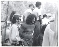 Jerry Garcia with an unidentified photographer at Speedway Meadows
