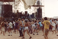 Deadheads, with the Grateful Dead in the background