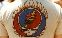 Grateful Dead logo with stealie and rose, on a t-shirt, ca. 1980s