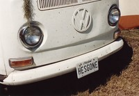 "Deadhead vehicle with ""HES GONE"" Maryland license plate, ca. 1990"