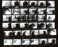 Grateful Dead at 710 Ashbury Street, meeting with Jerry Garcia, Danny Rifkin, Rock Scully, and unidentified others: contact sheet with 36 images