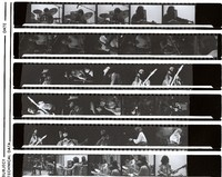 Unidentified musicians, ca. 1970s: contact sheet with 31 images