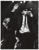 "Dan Ackroyd and John Belushi as ""The Blues Brothers"" for the closing of Winterland"