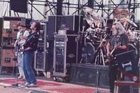 Grateful Dead: Phil Lesh, Bob Weir and Jerry Garcia, with Bill Kreutzmann, obscured