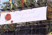 Bill Graham Memorial (Laughter, Love And Music): one of two banners above the stage