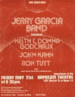 Jerry Garcia Band, featuring Keith and Donna Godchaux, John Kahn, Ron Tutt. May 21, 1976, Orpheum Theatre, San Francisco