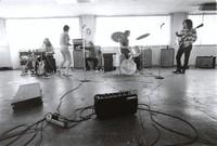 "Grateful Dead practice session: Ron ""Pigpen"" McKernan, Carolyn ""Mountain Girl"" Garcia, Phil Lesh, Bill Kreutzmann, Jerry Garcia"