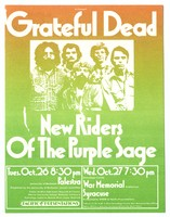 Grateful Dead / New Riders of the Purple Sage - Palestra, October 26 - Onondaga County War Memorial Auditorium, October 27 [1971]