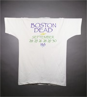 "T-shirt: ""Grateful Dead / Boston Garden 1993"" - skull with rose circlet. Back: ""Boston Dead"""