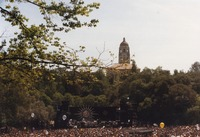 Grateful Dead at the Frost Amphitheatre: distant view of the stage, with Hoover Tower in the background