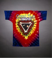 """T-shirt: """"Space Your Face"""" - planets in stealie. Back: """"Grateful Dead"""" - planets, bones, roses"""