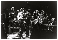 Grateful Dead in Egypt: Bill Kreutzmann, Bob Weir, Donna Godchaux, Jerry Garcia, Phil Lesh, Keith Godchaux, with Mickey Hart in the background