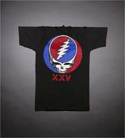 "T-shirt: Stealie, roses, flames. Back: ""XXV"" - stealie"