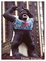 Inflatable King Kong in a tie-dye T-shirt on Madison Square Garden's marquee, ca. 1990