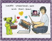 "Greeting card - ""Happy Valentine's Day with Miki's Heart"", with Mickey Hart and small photograph of Miki Saito. Back: illustration of a tiger float at a New Year's concert"