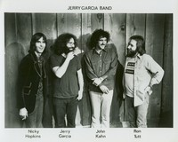 Jerry Garcia Band, ca. 1975: Nicky Hopkins, Jerry Garcia, John Kahn, and Ron Tutt