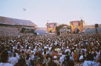 Grateful Dead at a stadium show: distant view of the stage