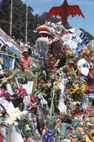 Memorial for Jerry Garcia: altar collection, and Chinese New Year dragon