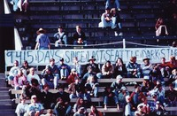 "Deadheads, ca. 1994: ""9415 days since last Seattle Dark Star"" banner"