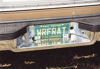 "Deadhead vehicle with ""WRFRAT"" Colorado license plate, ca. 1989"