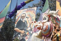 "Memorial for Jerry Garcia: portrait of Jerry and the head of ""Flash"", the Chinese New Year dragon"