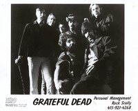"Grateful Dead publicity photo: Tom Constanten, Bob Weir, Bill Kreutzmann, Ron ""Pigpen"" McKernan, Phil Lesh, with Jerry Garcia and Mickey Hart in front"