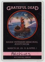 Grateful Dead - Marin Veterans Memorial Auditorium - March 28, 29, 31 & April 1 - Access All Areas [laminate]