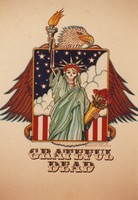 Grateful Dead merchandise: drawing of a skeletal Statue of Liberty backed by an eagle, by David Lundquist, that was part of a display at an unknown location