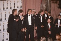 Rock and Roll Hall of Fame induction ceremony at the Waldorf-Astoria Hotel: Bruce Hornsby, Mickey Hart, Phil Lesh, Bill Kreutzmann, Bob Weir, Tom Constanten, Vince Welnick, Dennis McNally (seated), and three unidentified men