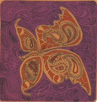 Butterfly in red with a purple background, with paisley patterns printed on orange construction paper