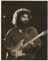 Jerry Garcia, with the Fender Stratocaster that Graham Nash gave him, ca. May 1971
