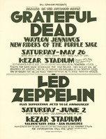Grateful Dead, Waylon Jennings, New Riders of the Purple Sage - May 26, Kezar Stadium. Led Zeppelin plus supporting acts to be announced - June 2, Kezar Stadium