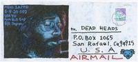 Decorated envelope with illustration of Jerry Garcia
