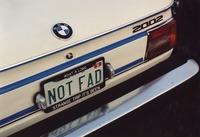 "Deadhead vehicle with ""NOT FAD"" Ohio license plate, ca. 1991"