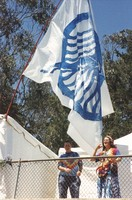 Memorial for Jerry Garcia: Deadheads with a flag