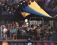 Grateful Dead, ca. 1980's (at the Greek Theatre?): Phil Lesh, Bob Weir, Bill Kreutzmann, Mickey Hart, Jerry Garcia, Brent Mydland
