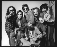 Grateful Dead: Jerry Garcia, Bob Weir, Phil Lesh, Bill Kreutzmann, Mickey Hart, with Brent Mydland in front