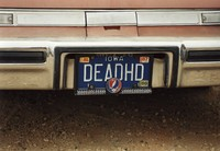 "Deadhead vehicle with ""DEADHD"" Iowa license plate, ca. 1988"