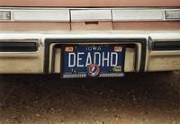 """Deadhead vehicle with """"DEADHD"""" Iowa license plate, ca. 1988"""