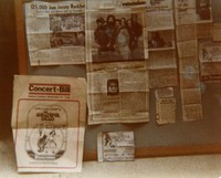 Grateful Dead: bulletin board with clippings from East coast tours
