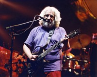 "Jerry Garcia playing ""Lightning Bolt,"" the guitar built by Stephen Cripe, ca. 1994"