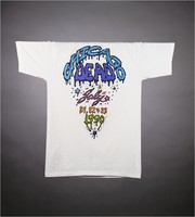 """T-shirt: """"Grateful Dead"""" - ice cream cone skull. Back: """"Chicago Dead / July 21, 22 and 23, 1990"""""""