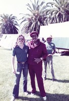 Unidentified crew member and Merl Saunders, ca. 1980s