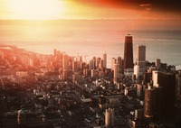 Chicago and sunrise: photomontage