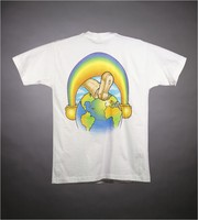"T-shirt: ""Grateful Dead"" - ice cream boy, fruit. Back: rainbow, foot, earth"