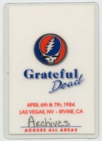 Grateful Dead - April 6 & 7, 1984 - Las Vegas, NV - Irvine, CA - Access All Areas [laminate]