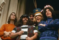 "Grateful Dead in front of 710 Ashbury Street: Bob Weir, Ron ""Pigpen"" McKernan, Bill Kreutzmann, Phil Lesh, Jerry Garcia"
