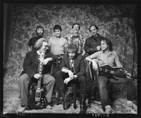 Dylan and the Dead: (front) Jerry Garcia, Bob Dylan, Bob Weir, (back) Brent Mydland, Mickey Hart, Phil Lesh, Bill Kreutzmann
