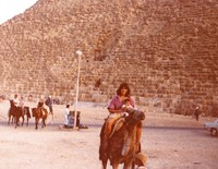 Grateful Dead in Egypt: unidentified woman and child at the Great Pyramid of Giza