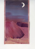 R. Heather painting of a crescent moon over a red desert
